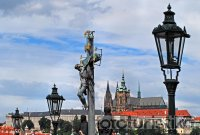 Statues on the Charles Bridge and Prague Castle